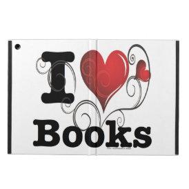 I Heart Books I Love Books! Swirly Curlique Heart iPad Air Cover