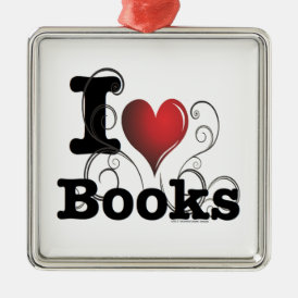 I Heart Books I Love Books! Swirly Curlique Heart Metal Ornament