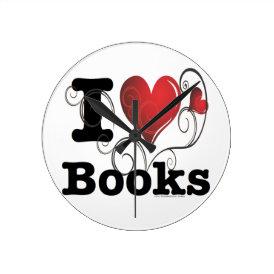 I Heart Books I Love Books! Swirly Curlique Heart Round Clock