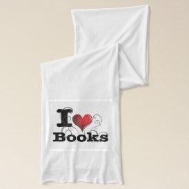 I Heart Books I Love Books! Swirly Curlique Heart Scarf