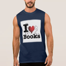 I Heart Books I Love Books! Swirly Curlique Heart Sleeveless Shirt