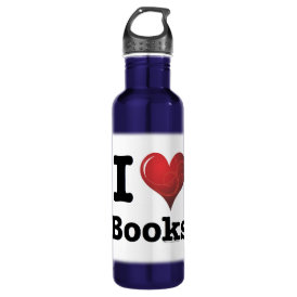 I Heart Books I Love Books! Swirly Curlique Heart Stainless Steel Water Bottle