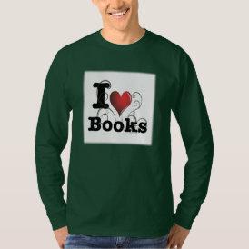 I Heart Books I Love Books! Swirly Curlique Heart T-Shirt