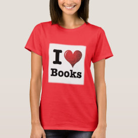 I Heart Books I Love Books! Swirly Curlique Heart T-Shirt
