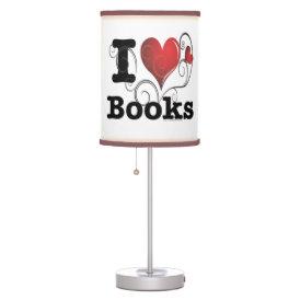 I Heart Books I Love Books! Swirly Curlique Heart Table Lamp