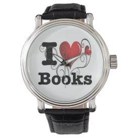 I Heart Books I Love Books! Swirly Curlique Heart Wrist Watch