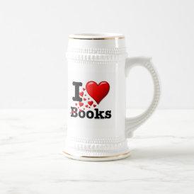 I Heart Books! I Love Books! (Trail of Hearts) Beer Stein