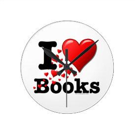 I Heart Books! I Love Books! (Trail of Hearts) Round Clock