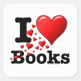 I Heart Books! I Love Books! (Trail of Hearts) Square Sticker