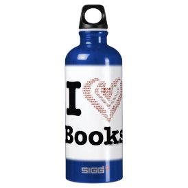 I Heart Books - I Love Books! (Word Heart) Aluminum Water Bottle