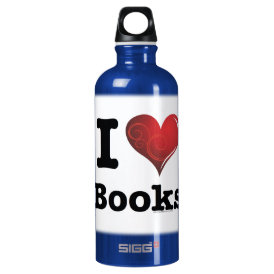 I heart books Swirly Curlique Heart 02 FADE 4000x4 Aluminum Water Bottle