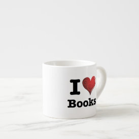 I heart books Swirly Curlique Heart 02 FADE 4000x4 Espresso Cup