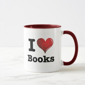 I heart books Swirly Curlique Heart 02 FADE 4000x4 Mug
