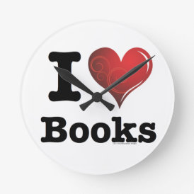 I heart books Swirly Curlique Heart 02 FADE 4000x4 Round Clock