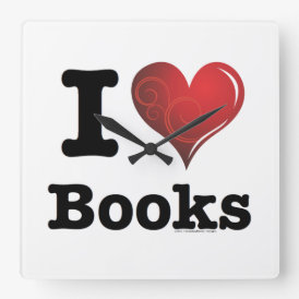 I heart books Swirly Curlique Heart 02 FADE 4000x4 Square Wall Clock