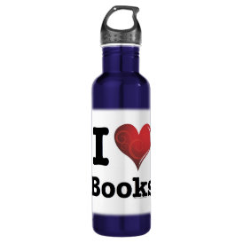 I heart books Swirly Curlique Heart 02 FADE 4000x4 Water Bottle
