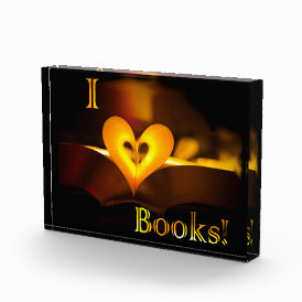 I Love Books - I 'Heart' Books (Candlelight) Acrylic Award