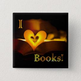 I Love Books - I 'Heart' Books (Candlelight) Button