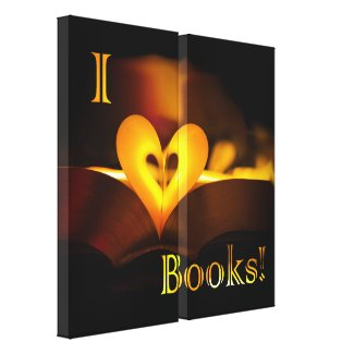 I Love Books - I 'Heart' Books (Candlelight) Gallery Wrap Canvas
