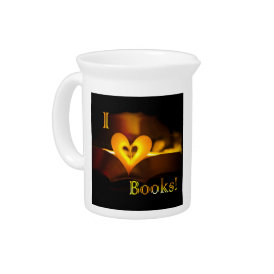 I Love Books - I 'Heart' Books (Candlelight) Drink Pitcher