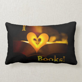 I Love Books - I 'Heart' Books (Candlelight) Lumbar Pillow