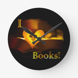I Love Books - I 'Heart' Books (Candlelight) Round Clock