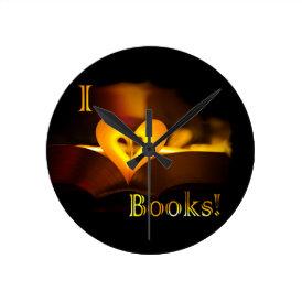 I Love Books - I 'Heart' Books (Candlelight) Round Clock