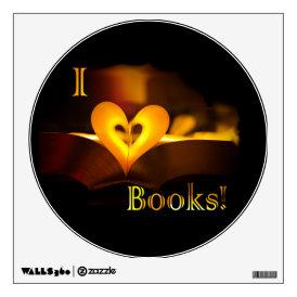 I Love Books - I 'Heart' Books (Candlelight) Wall Sticker