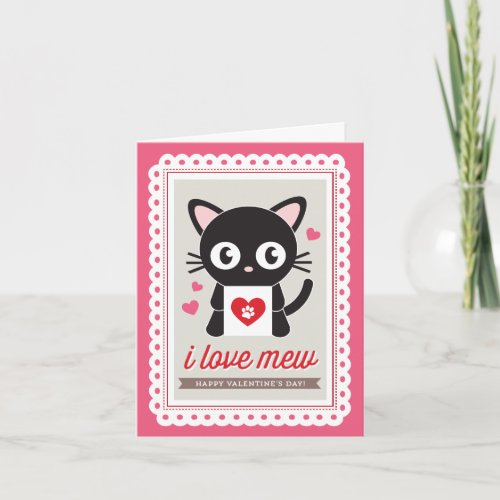 I love Mew by Origami Prints Valentine Folded Card