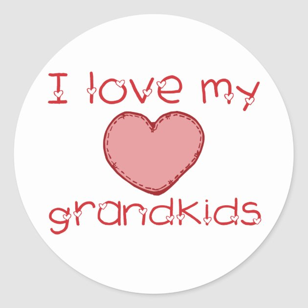 Download I love my grandkids classic round sticker | Zazzle