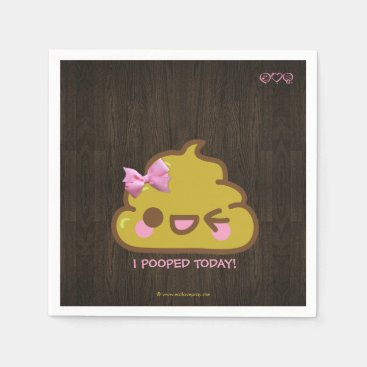 I Pooped Today! Cutey Poo with Pink Bow Paper Napkin