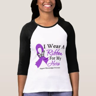 I Wear A Ribbon For My HERO Fibromyalgia shirt