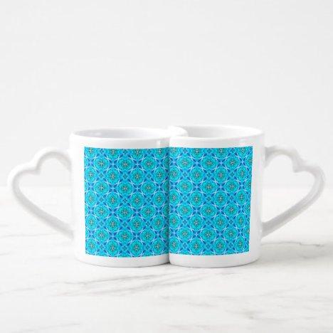 Ice Blue Infinity Signs Abstract Aqua Cyan Flowers Coffee Mug Set