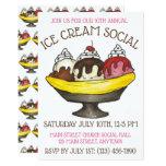 ❤️ Ice Cream Social Party Dessert Banana Split Sundae Invitation