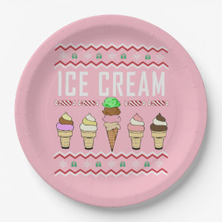 Ice Cream Ugly Christmas Sweater Paper Plate