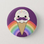❤️ Ice Cream with Mustache Pinback Button