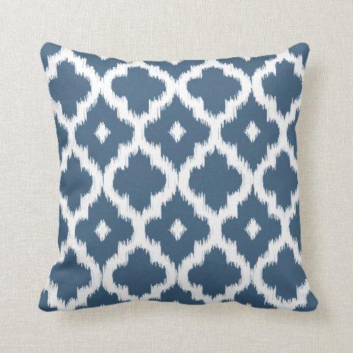 Ikat Quatrefoil Pattern Dark Denim Blue Throw Pillow