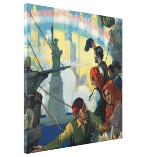 Immigrants and The Statue of Liberty Artwork Canvas Print