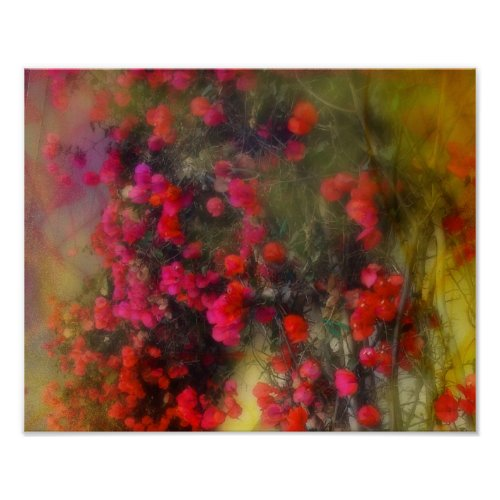 Impressionism Red Bougainvillea Poster print