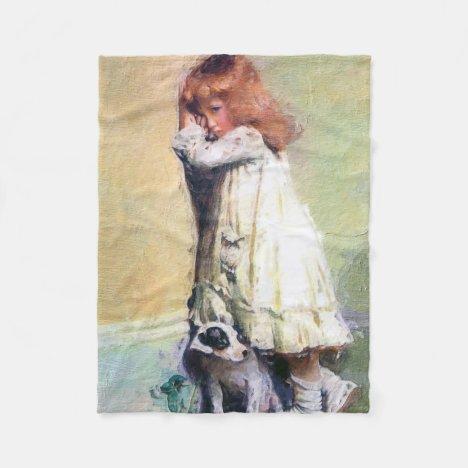 In Disgrace Vintage Oil Painting Fleece Blanket