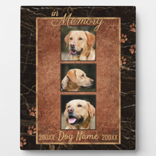 In Dog Memory Marble Rustic Gold Keepsake Plaque