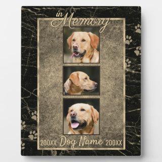 In Dog Memory Marble Rustic Sepia Keepsake Plaque