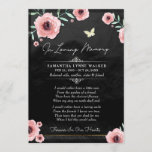 In Loving Memory Pink Floral On Black Thank You Card