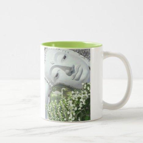 In the Garden - Quan Yin & Flowers Two-Tone Coffee Mug
