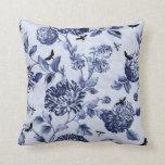 Indigo Blue Vintage Botanical Bugs Floral Toile Throw Pillow