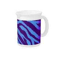 Indigo/Blue Zebra Print Pitcher on Zazzle