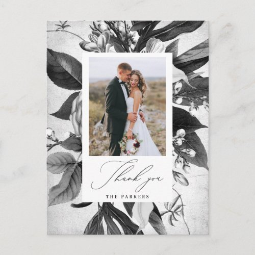 Industrial Chic Floral Thank You Photo Announcement Postcard