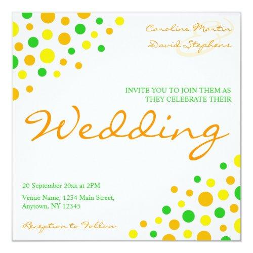 Informal Yellow Orange Green Marriage Wedding Card