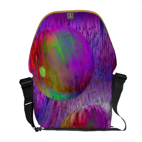Inner Flow I Abstract Fractal Green Purple Galaxy Courier Bag