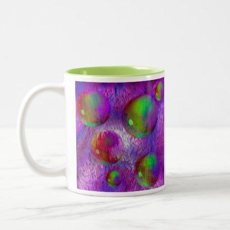 Inner Flow I Abstract Fractal Green Purple Galaxy Two-Tone Coffee Mug
